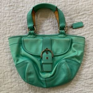 Coach leather small teal top handle satchel
